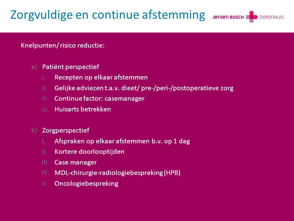 Knelpunten/ risico reductie: a)Patiënt perspectief i.Recepten op elkaar afstemmen ii.Gelijke adviezen t.a.v. dieet/ pre-/peri-/postoperatieve zorg iii
