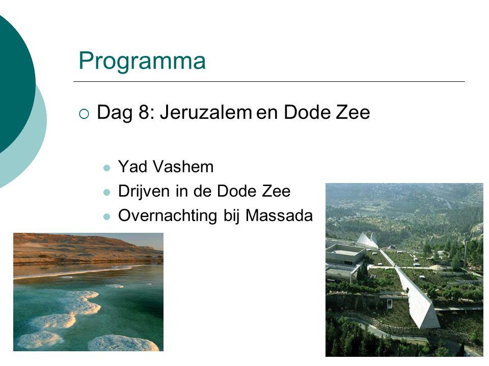 Programma  Dag 8: Jeruzalem en Dode Zee Yad Vashem Drijven in de Dode Zee Overnachting bij Massada