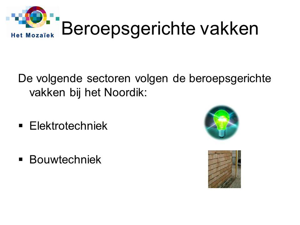 Beroepsgerichte vakken De volgende sectoren volgen de beroepsgerichte vakken bij het Noordik:  Elektrotechniek  Bouwtechniek