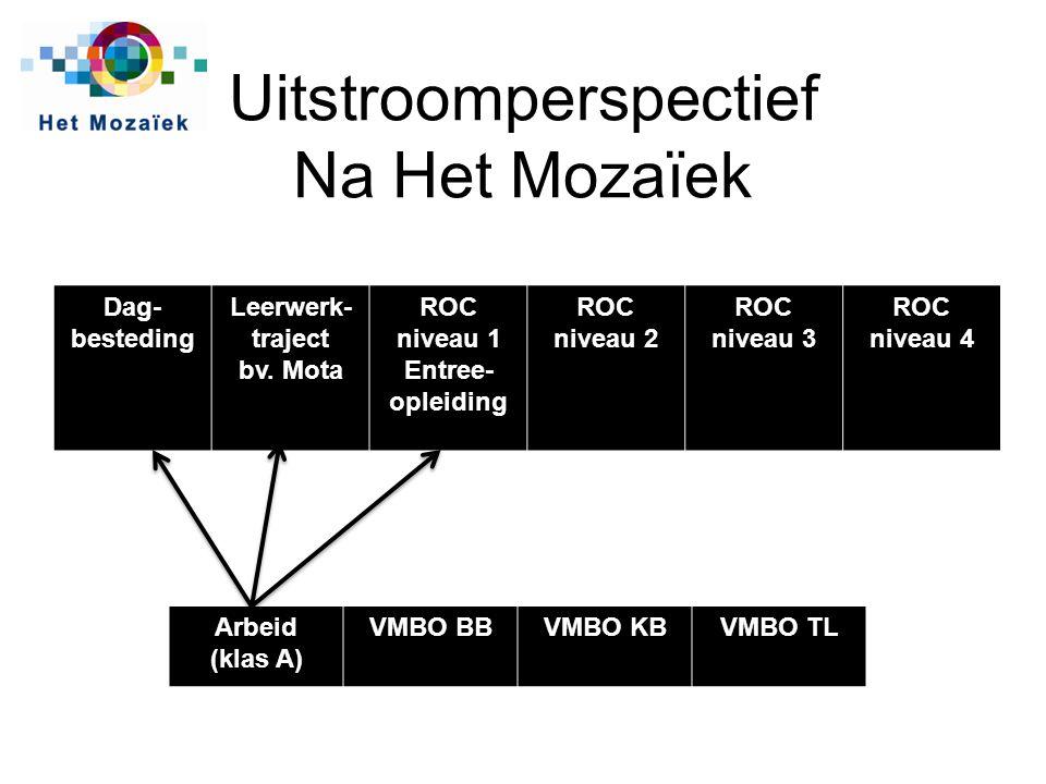 Uitstroomperspectief Na Het Mozaïek Dag- besteding Leerwerk- traject bv. Mota ROC niveau 1 Entree- opleiding ROC niveau 2 ROC niveau 3 ROC niveau 4 Ar