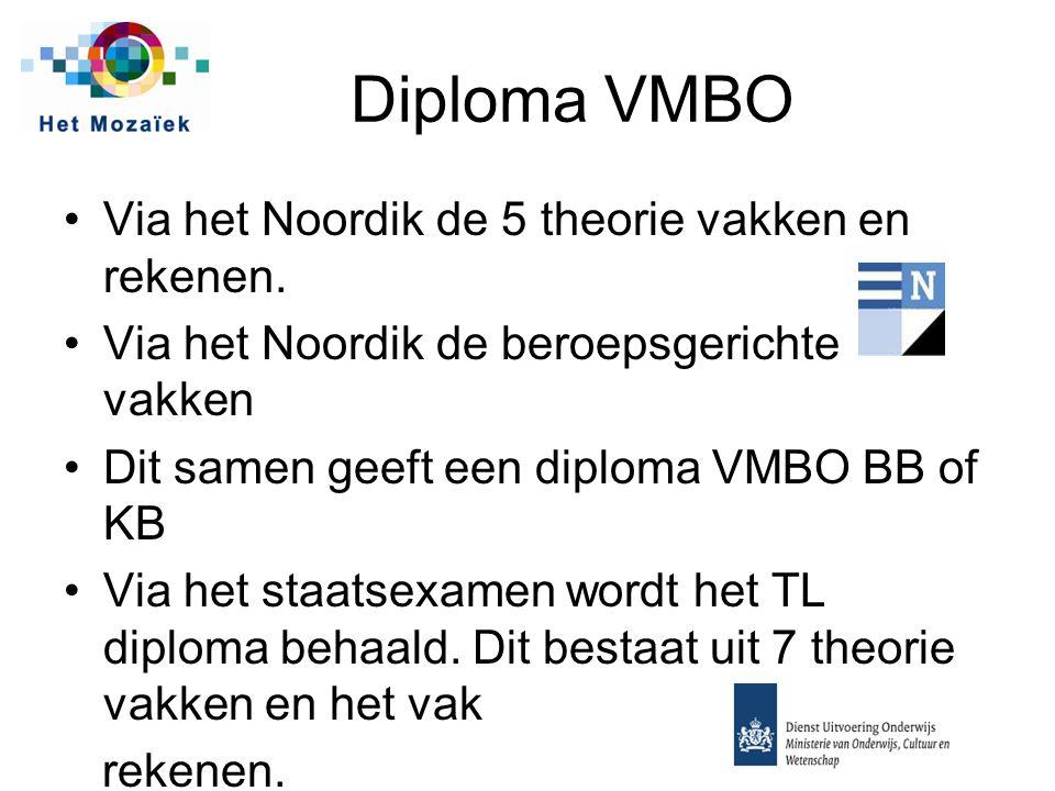 Diploma VMBO Via het Noordik de 5 theorie vakken en rekenen. Via het Noordik de beroepsgerichte vakken Dit samen geeft een diploma VMBO BB of KB Via h