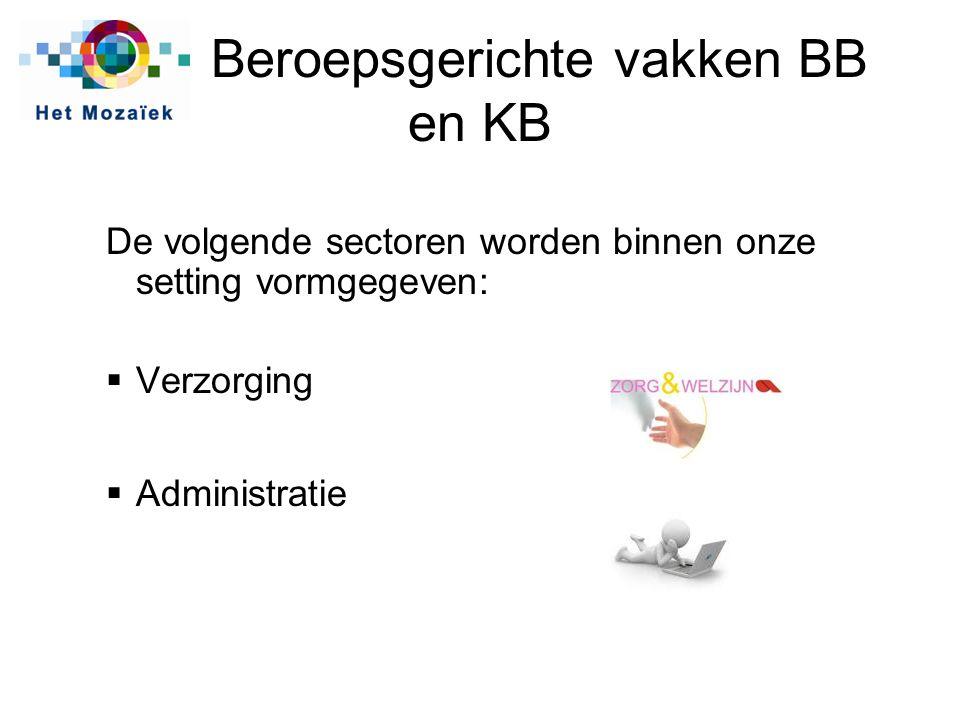 Beroepsgerichte vakken BB en KB De volgende sectoren worden binnen onze setting vormgegeven:  Verzorging  Administratie