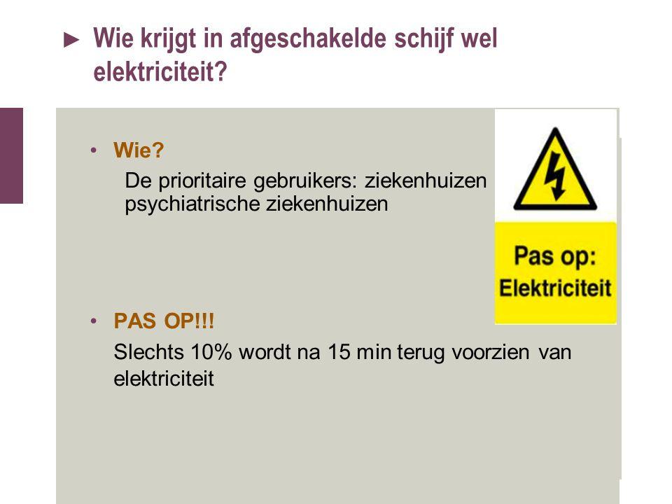 ► Wie krijgt in afgeschakelde schijf wel elektriciteit? Wie? De prioritaire gebruikers: ziekenhuizen en psychiatrische ziekenhuizen PAS OP!!! Slechts