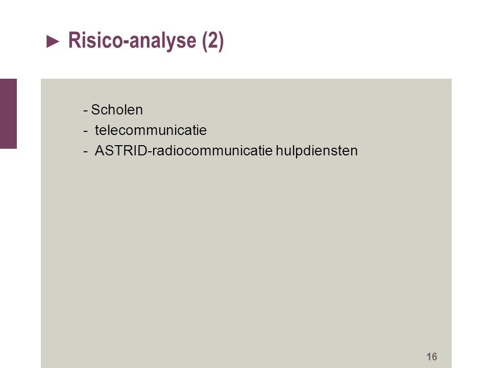 ► Risico-analyse (2) -Scholen - telecommunicatie - ASTRID-radiocommunicatie hulpdiensten 16