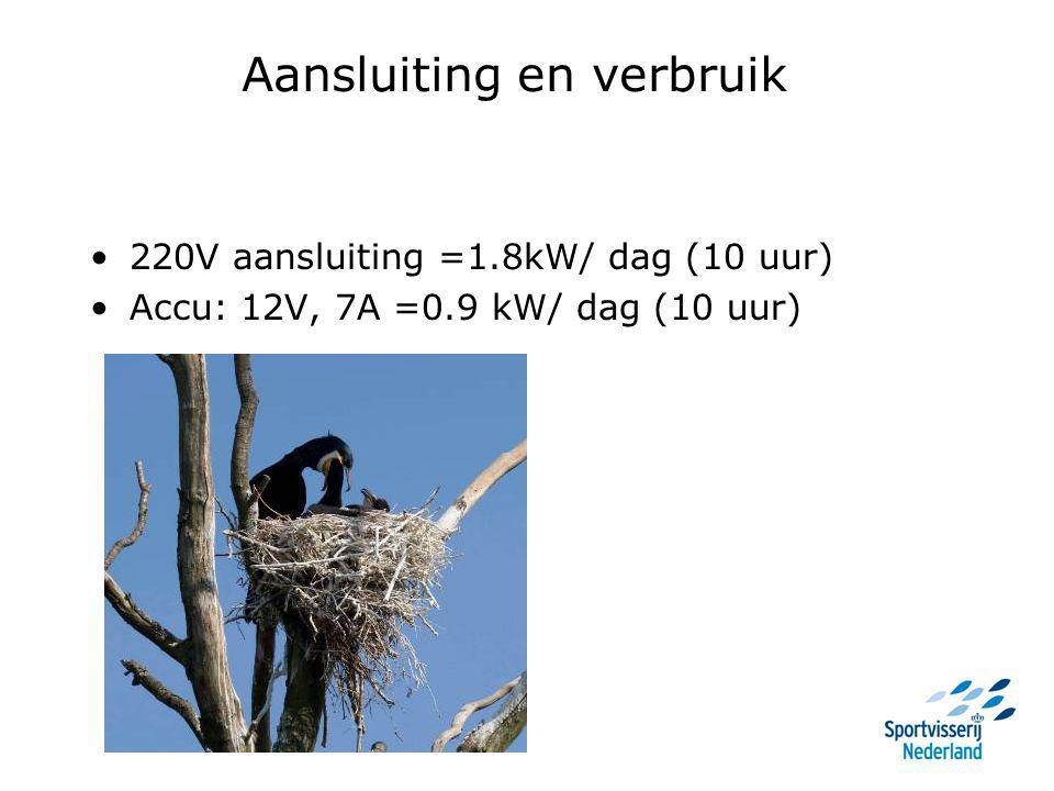 Aansluiting en verbruik 220V aansluiting =1.8kW/ dag (10 uur) Accu: 12V, 7A =0.9 kW/ dag (10 uur)