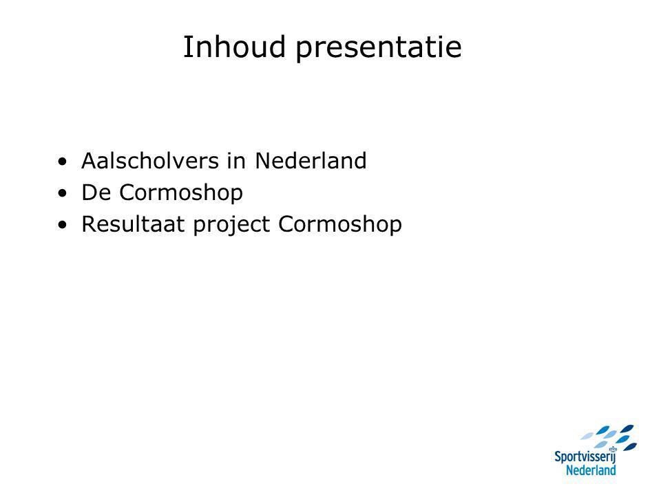 Inhoud presentatie Aalscholvers in Nederland De Cormoshop Resultaat project Cormoshop