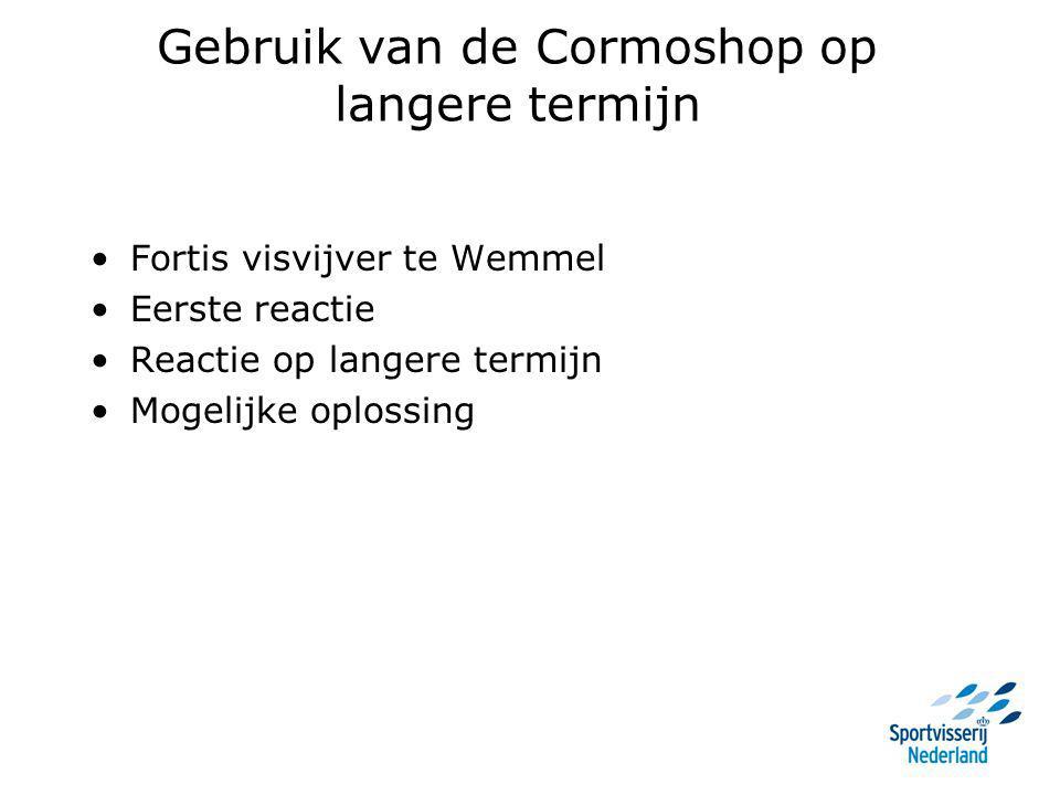 Gebruik van de Cormoshop op langere termijn Fortis visvijver te Wemmel Eerste reactie Reactie op langere termijn Mogelijke oplossing