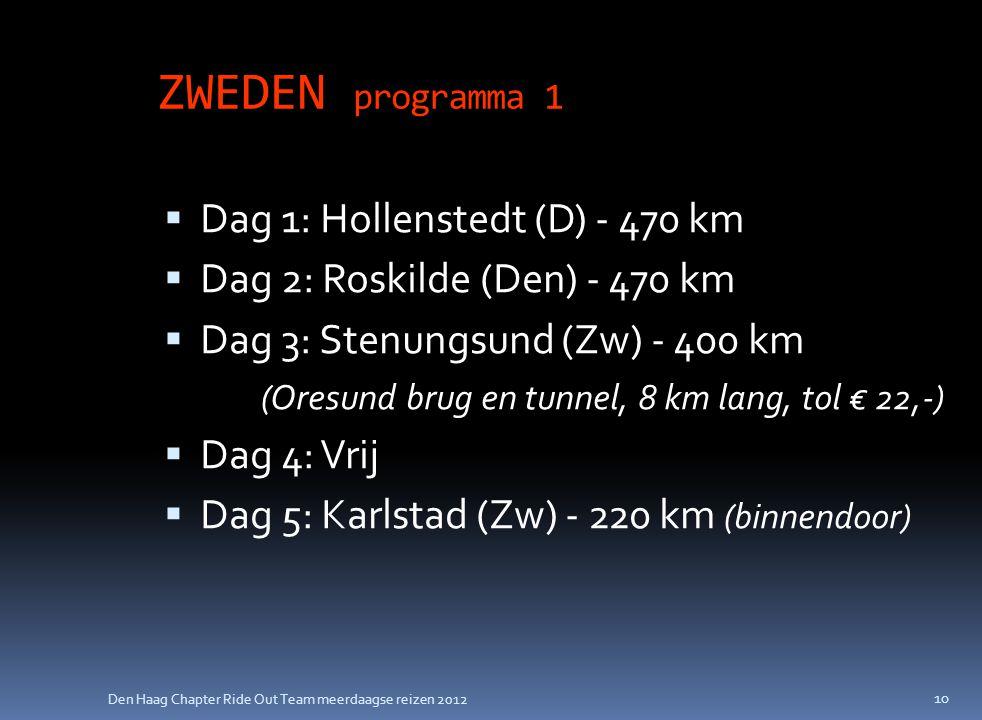 Den Haag Chapter Ride Out Team meerdaagse reizen 2012 ZWEDEN programma 1  Dag 1: Hollenstedt (D) - 470 km  Dag 2: Roskilde (Den) - 470 km  Dag 3: S