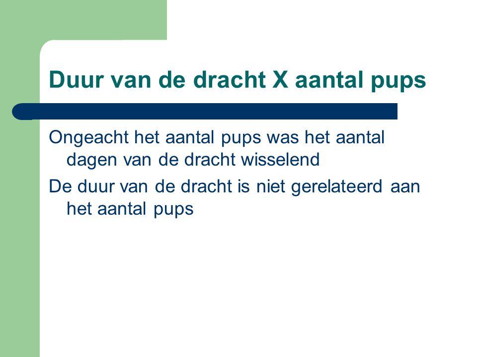 Duur van de dracht X aantal pups Ongeacht het aantal pups was het aantal dagen van de dracht wisselend De duur van de dracht is niet gerelateerd aan het aantal pups