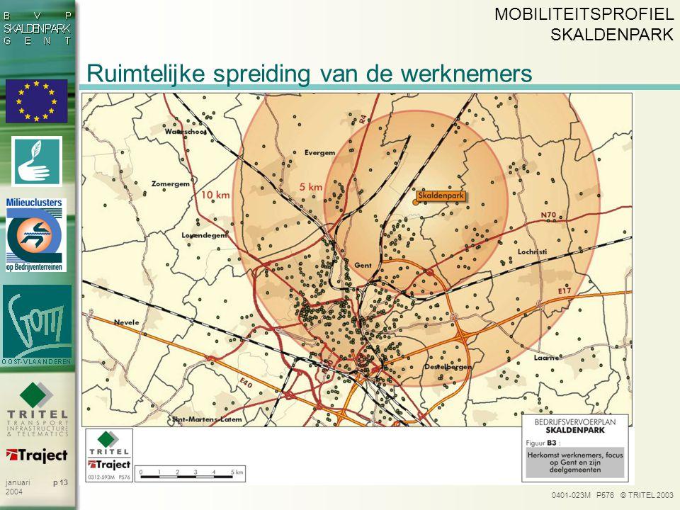 0401-023M P576 © TRITEL 2003 p 13januari 2004 Ruimtelijke spreiding van de werknemers MOBILITEITSPROFIEL SKALDENPARK