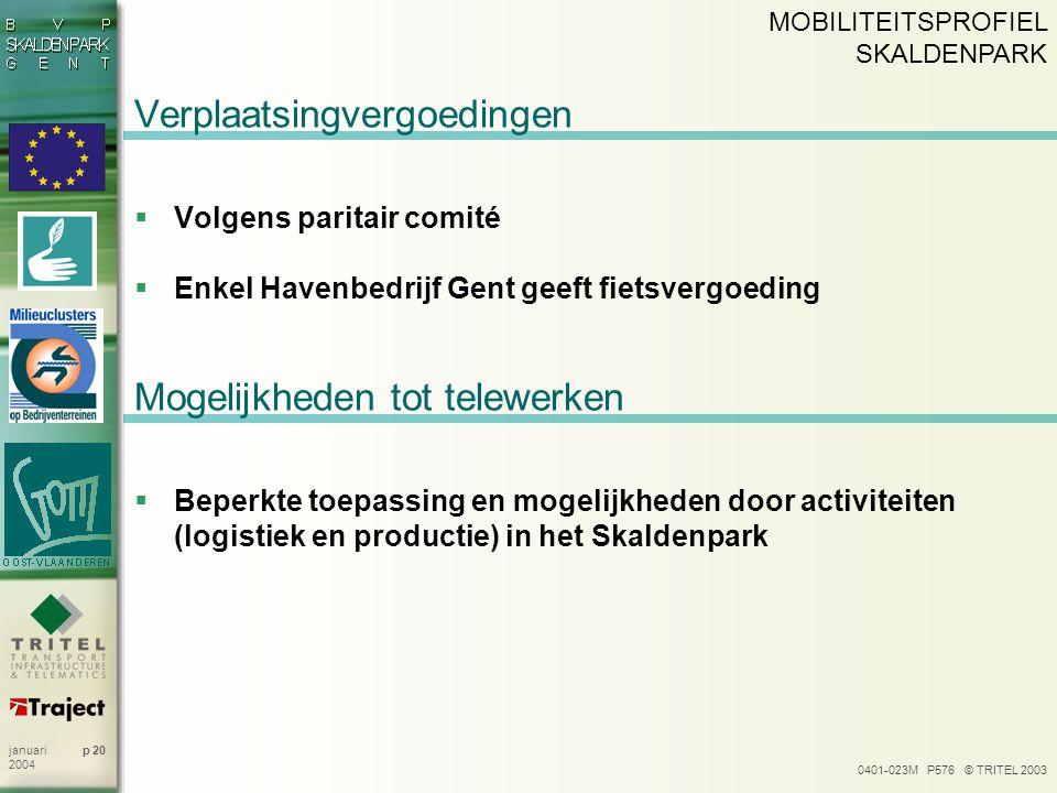 0401-023M P576 © TRITEL 2003 p 20januari 2004 Verplaatsingvergoedingen  Volgens paritair comité  Enkel Havenbedrijf Gent geeft fietsvergoeding MOBIL