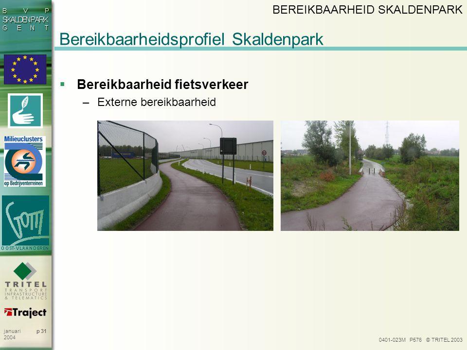 0401-023M P576 © TRITEL 2003 p 31januari 2004 Bereikbaarheidsprofiel Skaldenpark  Bereikbaarheid fietsverkeer –Externe bereikbaarheid BEREIKBAARHEID