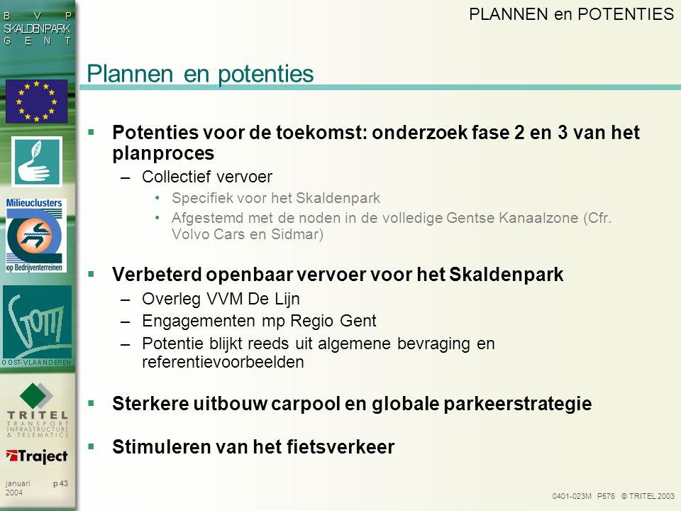 0401-023M P576 © TRITEL 2003 p 43januari 2004 Plannen en potenties  Potenties voor de toekomst: onderzoek fase 2 en 3 van het planproces –Collectief vervoer Specifiek voor het Skaldenpark Afgestemd met de noden in de volledige Gentse Kanaalzone (Cfr.