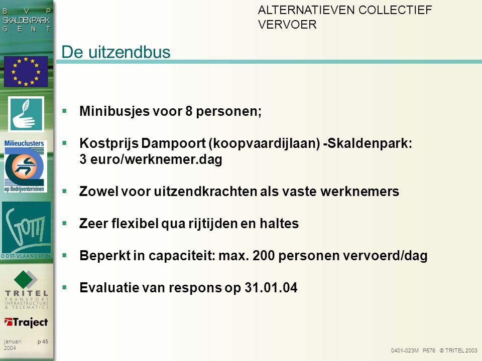 0401-023M P576 © TRITEL 2003 p 45januari 2004 De uitzendbus  Minibusjes voor 8 personen;  Kostprijs Dampoort (koopvaardijlaan) -Skaldenpark: 3 euro/