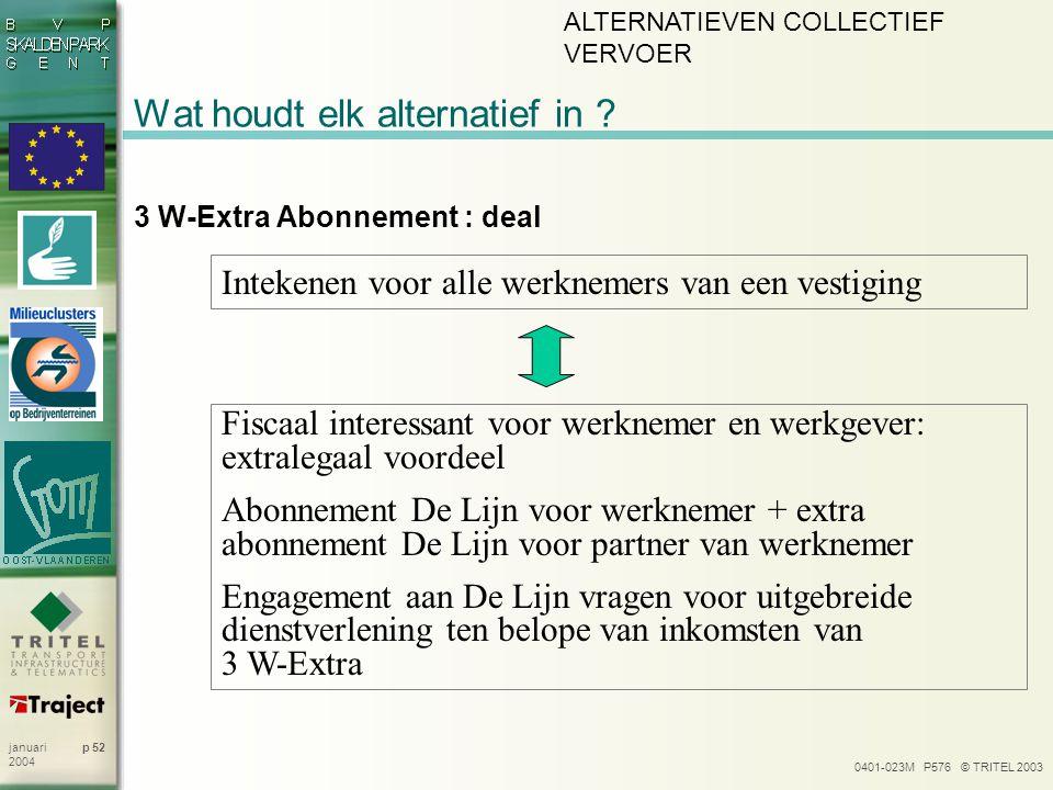 0401-023M P576 © TRITEL 2003 p 52januari 2004 Wat houdt elk alternatief in ? 3 W-Extra Abonnement : deal Intekenen voor alle werknemers van een vestig