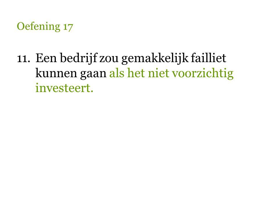Oefening 17 11.Een bedrijf zou gemakkelijk failliet kunnen gaan als het niet voorzichtig investeert.