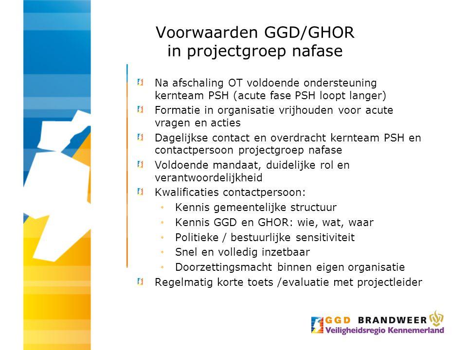 Voorwaarden GGD/GHOR in projectgroep nafase Na afschaling OT voldoende ondersteuning kernteam PSH (acute fase PSH loopt langer) Formatie in organisati