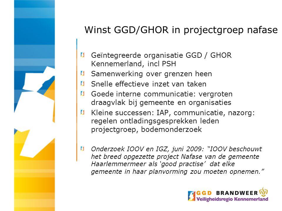 Winst GGD/GHOR in projectgroep nafase Geïntegreerde organisatie GGD / GHOR Kennemerland, incl PSH Samenwerking over grenzen heen Snelle effectieve inz