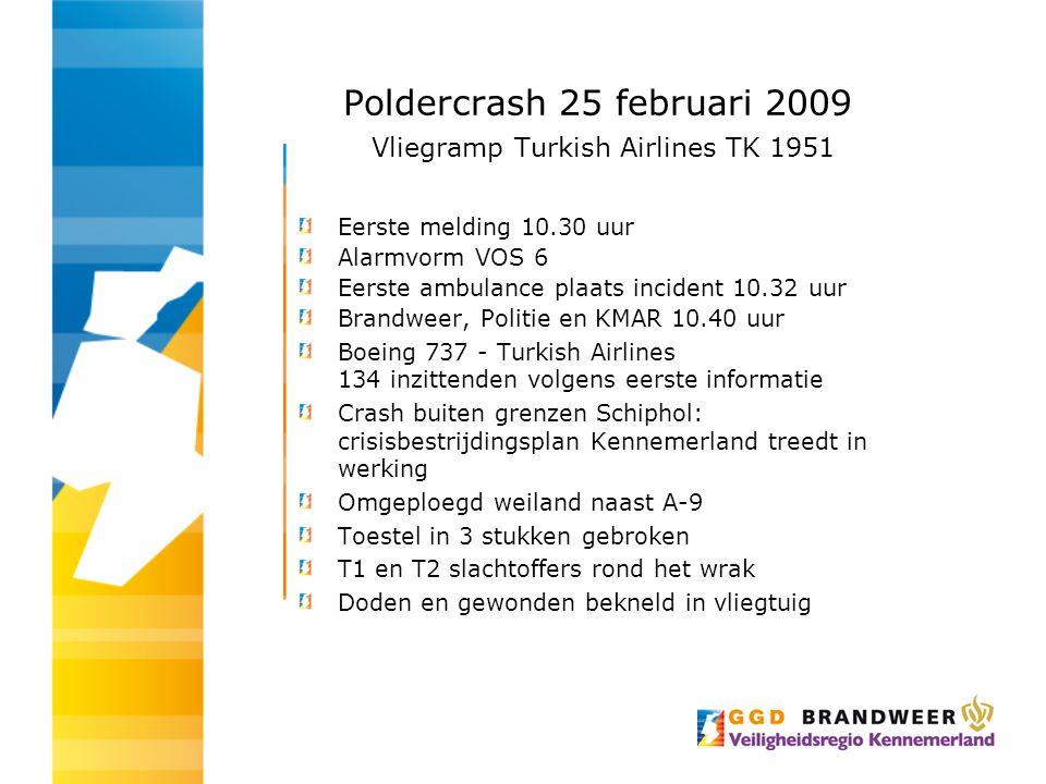 Poldercrash 25 februari 2009 Vliegramp Turkish Airlines TK 1951 Eerste melding 10.30 uur Alarmvorm VOS 6 Eerste ambulance plaats incident 10.32 uur Br