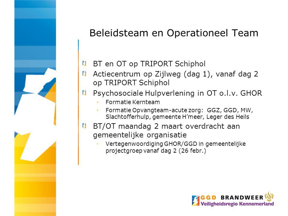 Beleidsteam en Operationeel Team BT en OT op TRIPORT Schiphol Actiecentrum op Zijlweg (dag 1), vanaf dag 2 op TRIPORT Schiphol Psychosociale Hulpverle