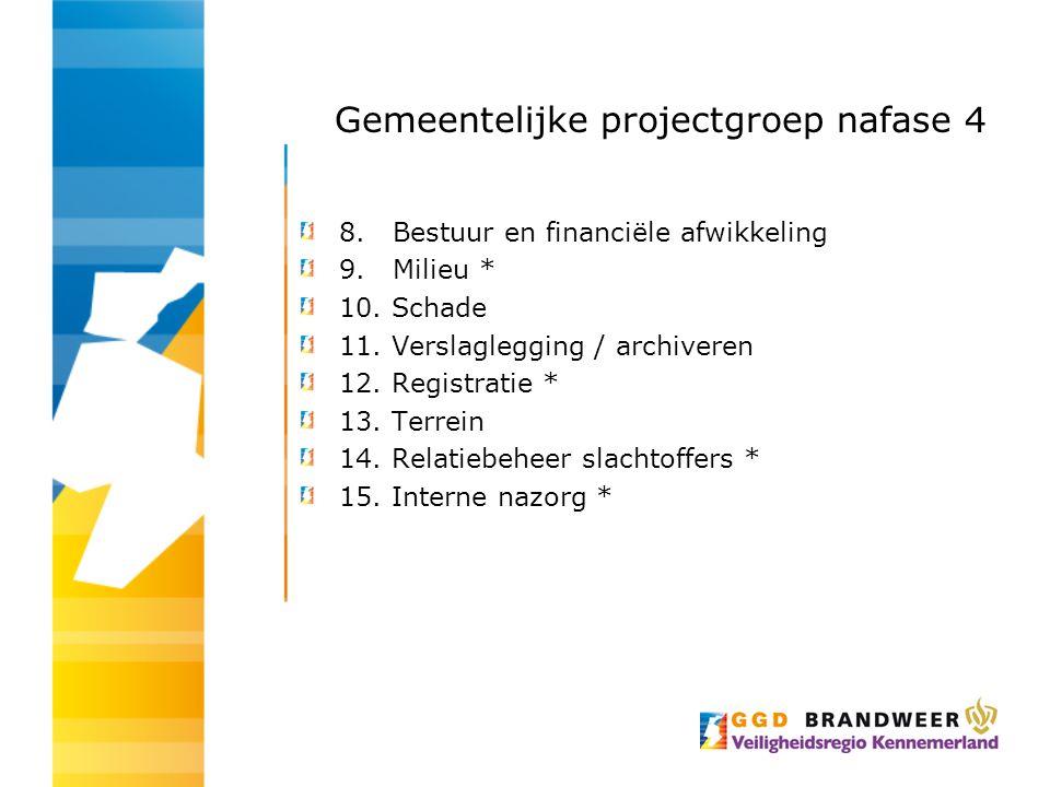 Gemeentelijke projectgroep nafase 4 8. Bestuur en financiële afwikkeling 9. Milieu * 10. Schade 11. Verslaglegging / archiveren 12. Registratie * 13.