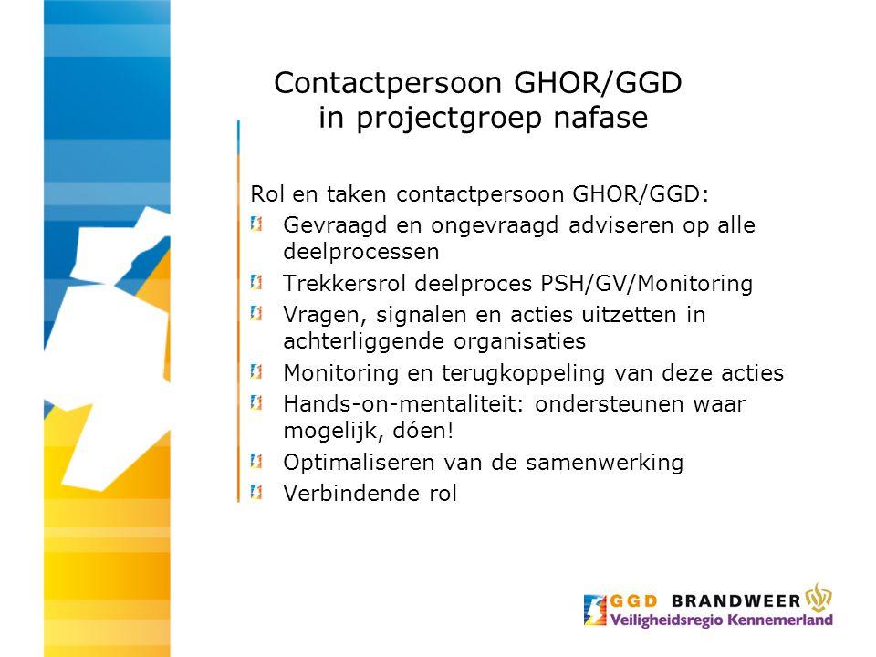 Contactpersoon GHOR/GGD in projectgroep nafase Rol en taken contactpersoon GHOR/GGD: Gevraagd en ongevraagd adviseren op alle deelprocessen Trekkersro