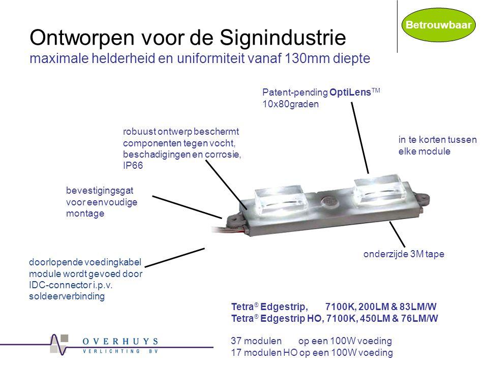 Ontworpen voor de Signindustrie maximale helderheid en uniformiteit vanaf 130mm diepte doorlopende voedingkabel module wordt gevoed door IDC-connector i.p.v.