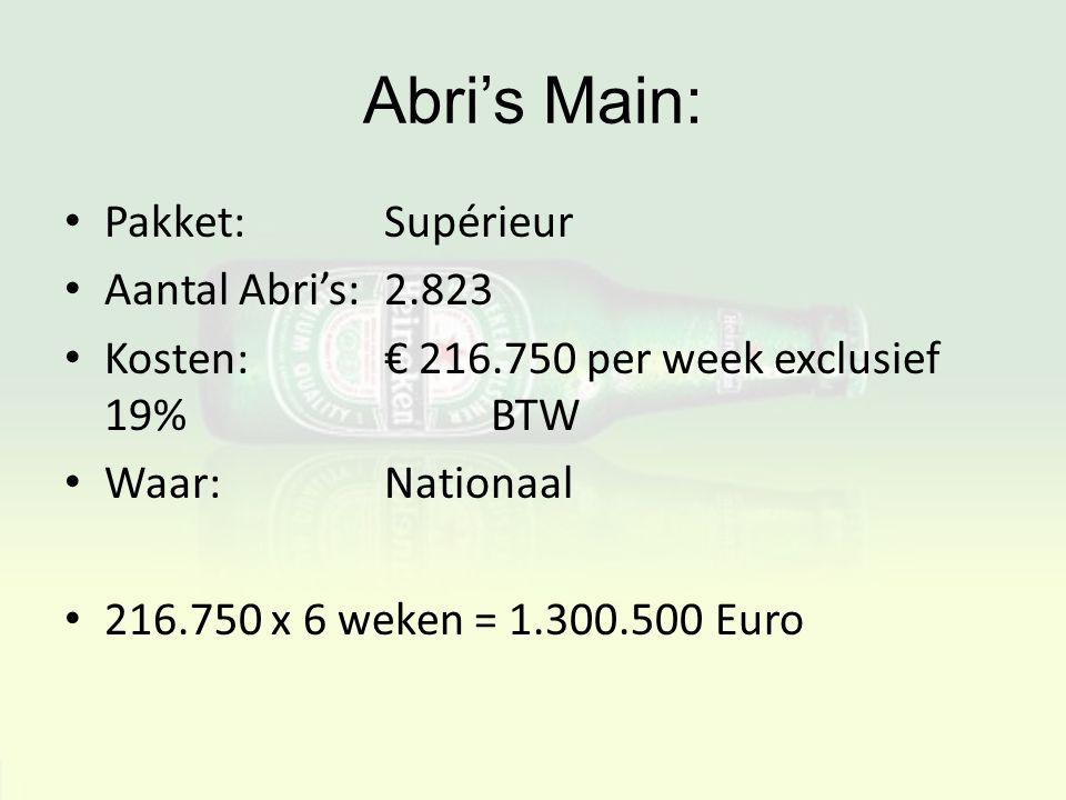 Abri's Main: Pakket: Supérieur Aantal Abri's: 2.823 Kosten:€ 216.750 per week exclusief 19% BTW Waar:Nationaal 216.750 x 6 weken = 1.300.500 Euro