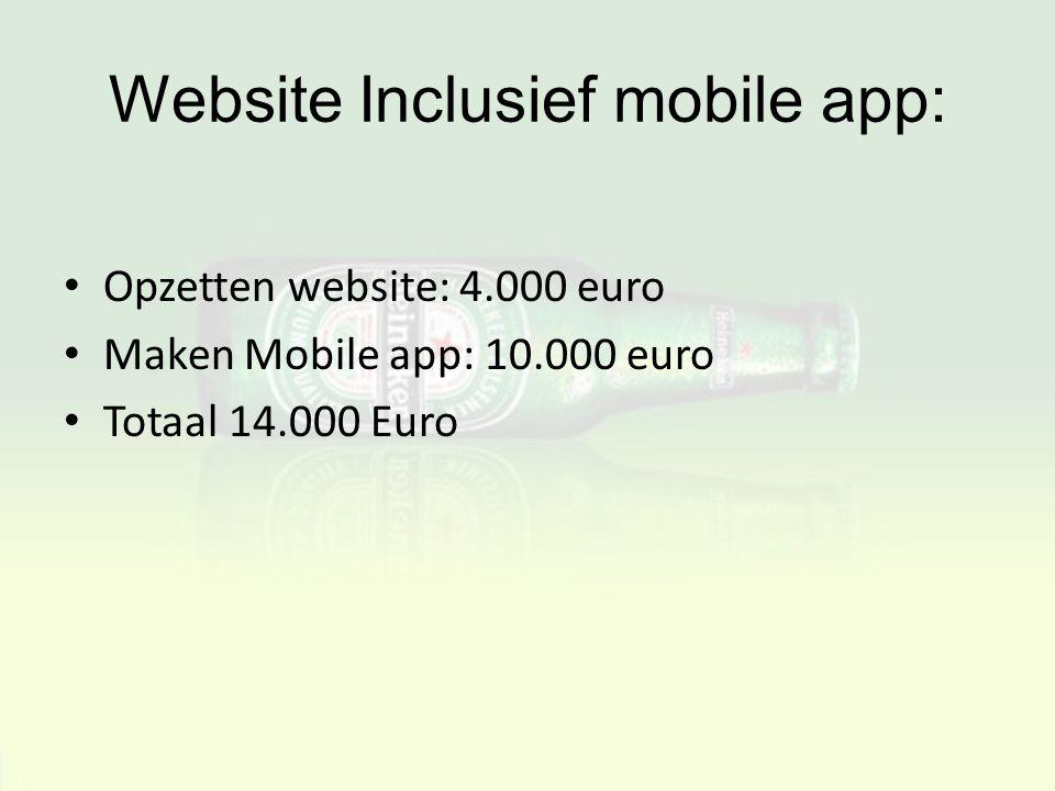 Website Inclusief mobile app: Opzetten website: 4.000 euro Maken Mobile app: 10.000 euro Totaal 14.000 Euro