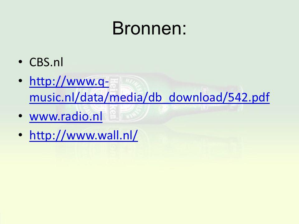 Bronnen: CBS.nl http://www.q- music.nl/data/media/db_download/542.pdf http://www.q- music.nl/data/media/db_download/542.pdf www.radio.nl http://www.wa