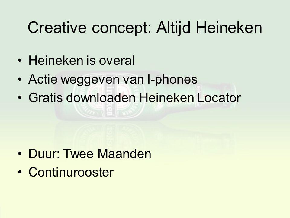 Creative concept: Altijd Heineken Heineken is overal Actie weggeven van I-phones Gratis downloaden Heineken Locator Duur: Twee Maanden Continurooster