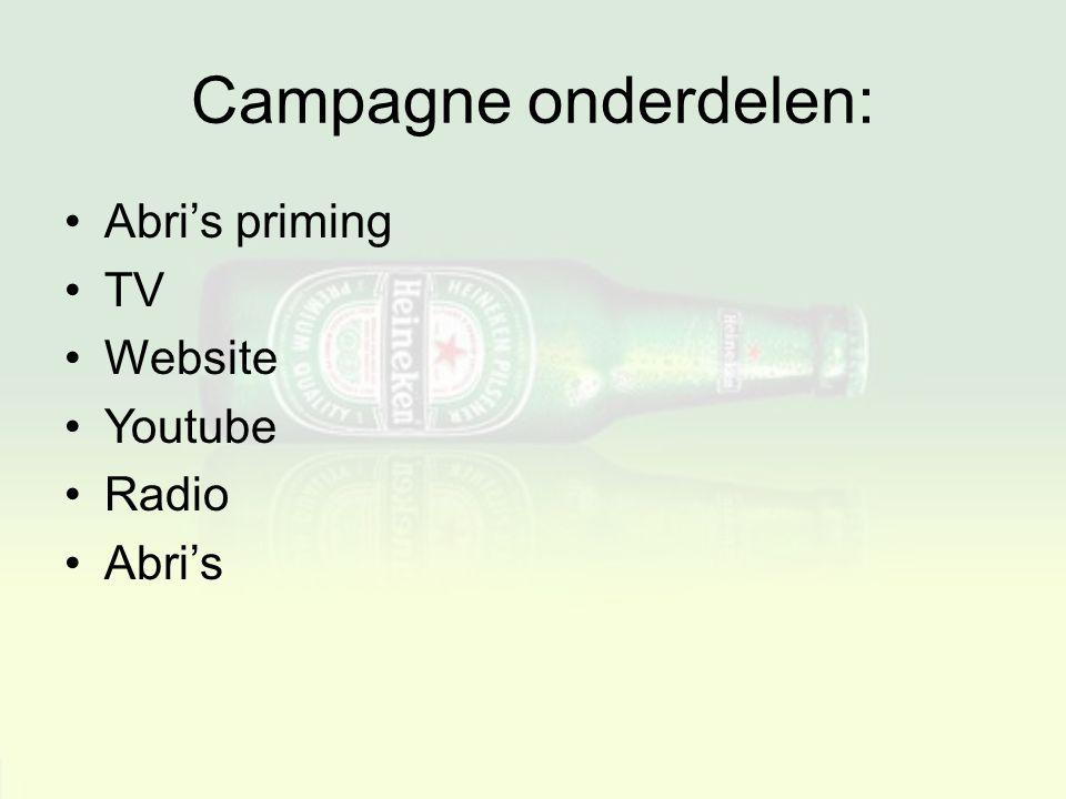 Campagne onderdelen: Abri's priming TV Website Youtube Radio Abri's