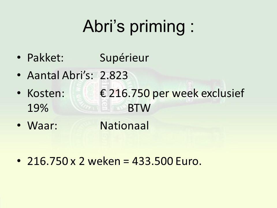 Abri's priming : Pakket: Supérieur Aantal Abri's: 2.823 Kosten:€ 216.750 per week exclusief 19% BTW Waar:Nationaal 216.750 x 2 weken = 433.500 Euro.