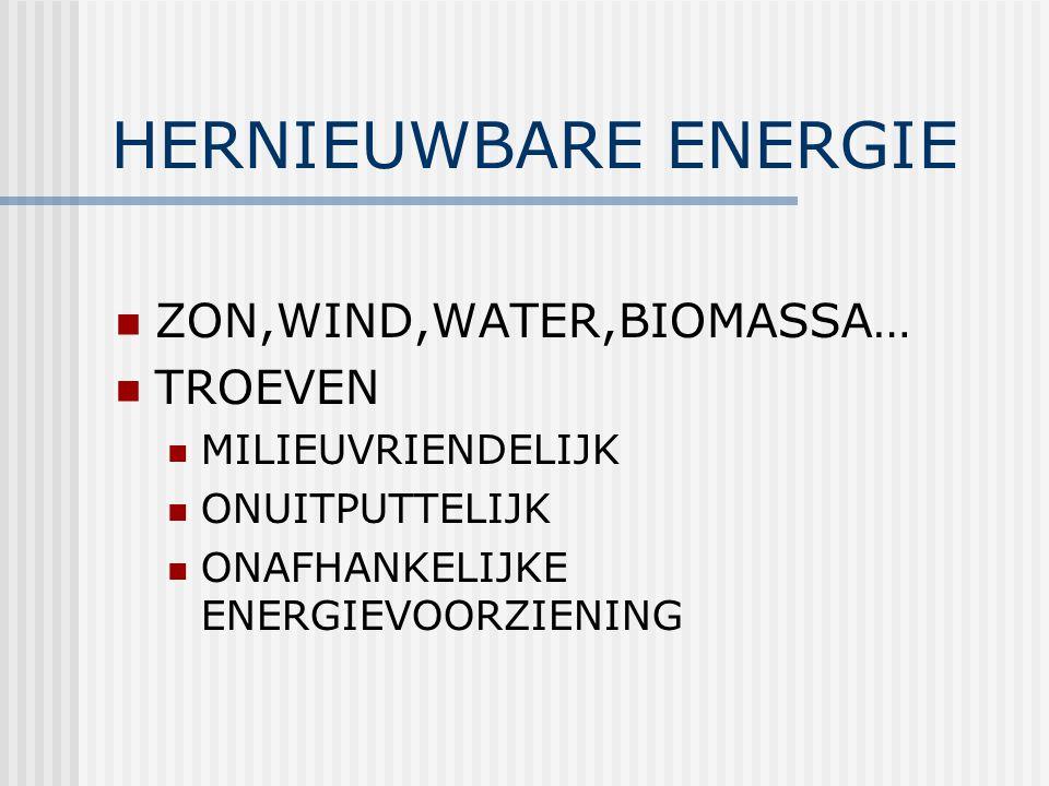 HERNIEUWBARE ENERGIE ZON,WIND,WATER,BIOMASSA… TROEVEN MILIEUVRIENDELIJK ONUITPUTTELIJK ONAFHANKELIJKE ENERGIEVOORZIENING