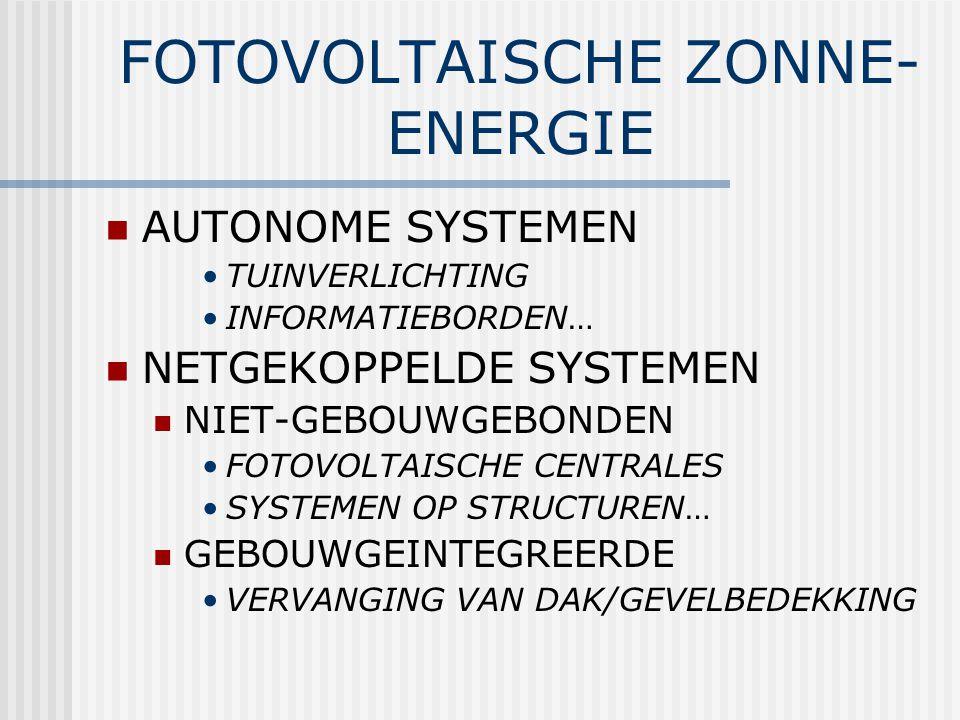 FOTOVOLTAISCHE ZONNE- ENERGIE AUTONOME SYSTEMEN TUINVERLICHTING INFORMATIEBORDEN… NETGEKOPPELDE SYSTEMEN NIET-GEBOUWGEBONDEN FOTOVOLTAISCHE CENTRALES SYSTEMEN OP STRUCTUREN… GEBOUWGEINTEGREERDE VERVANGING VAN DAK/GEVELBEDEKKING