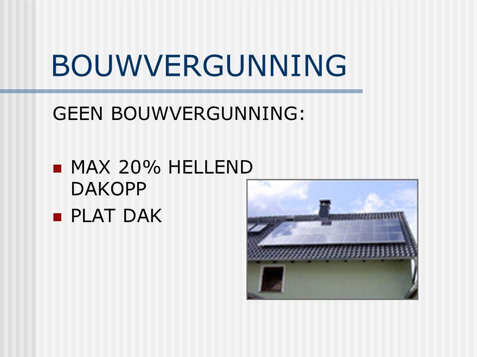 BOUWVERGUNNING GEEN BOUWVERGUNNING: MAX 20% HELLEND DAKOPP PLAT DAK