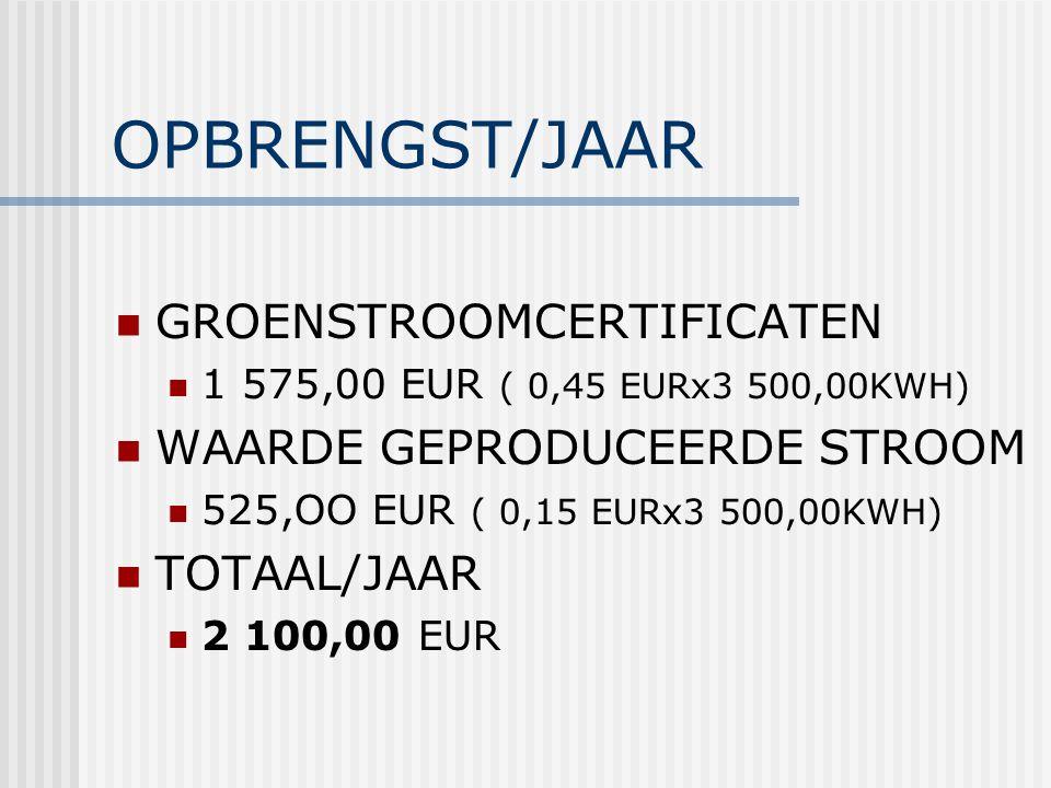 OPBRENGST/JAAR GROENSTROOMCERTIFICATEN 1 575,00 EUR ( 0,45 EURx3 500,00KWH) WAARDE GEPRODUCEERDE STROOM 525,OO EUR ( 0,15 EURx3 500,00KWH) TOTAAL/JAAR