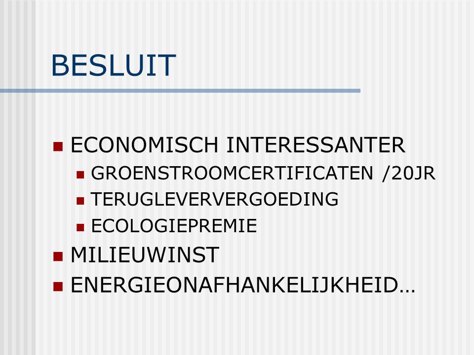 BESLUIT ECONOMISCH INTERESSANTER GROENSTROOMCERTIFICATEN /20JR TERUGLEVERVERGOEDING ECOLOGIEPREMIE MILIEUWINST ENERGIEONAFHANKELIJKHEID…