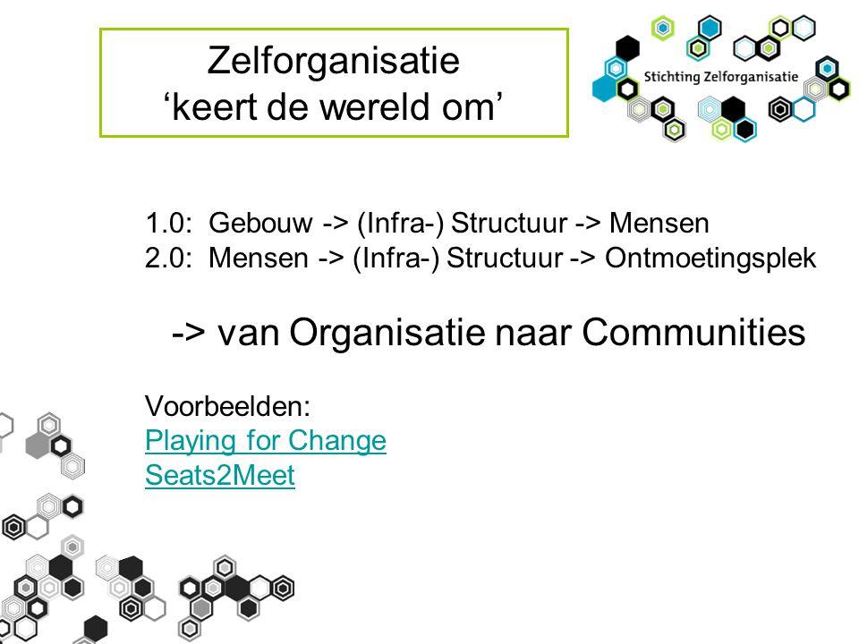 Zelforganisatie 'keert de wereld om' 1.0: Gebouw -> (Infra-) Structuur -> Mensen 2.0: Mensen -> (Infra-) Structuur -> Ontmoetingsplek -> van Organisatie naar Communities Voorbeelden: Playing for Change Seats2Meet