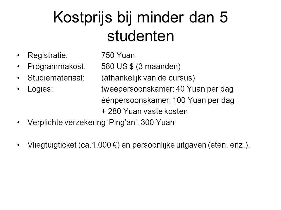Kostprijs bij minder dan 5 studenten Registratie: 750 Yuan Programmakost: 580 US $ (3 maanden) Studiemateriaal: (afhankelijk van de cursus) Logies:twe