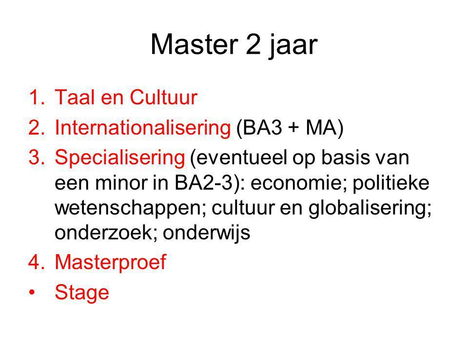 Master 2 jaar 1.Taal en Cultuur 2.Internationalisering (BA3 + MA) 3.Specialisering (eventueel op basis van een minor in BA2-3): economie; politieke we