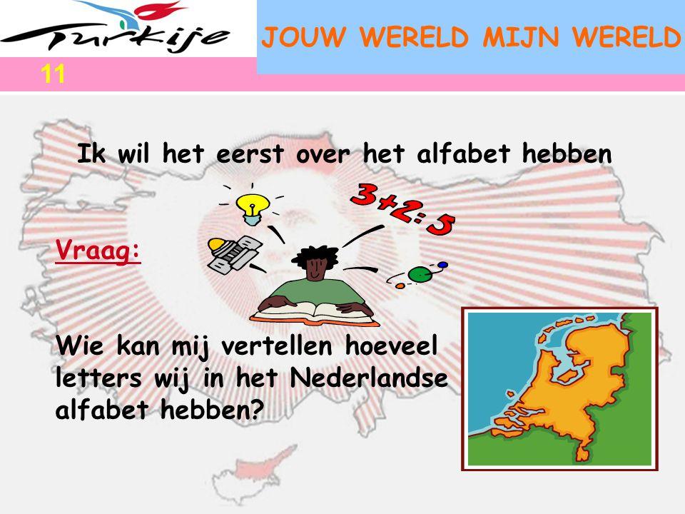 JOUW WERELD MIJN WERELD Ik wil het eerst over het alfabet hebben Vraag: Wie kan mij vertellen hoeveel letters wij in het Nederlandse alfabet hebben? 1
