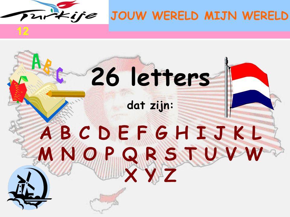 JOUW WERELD MIJN WERELD 26 letters dat zijn: A B C D E F G H I J K L M N O P Q R S T U V W X Y Z 12