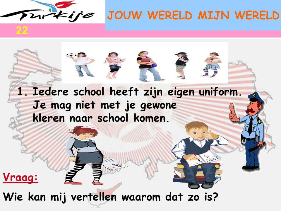 JOUW WERELD MIJN WERELD 1.Iedere school heeft zijn eigen uniform. Je mag niet met je gewone kleren naar school komen. Vraag: Wie kan mij vertellen waa