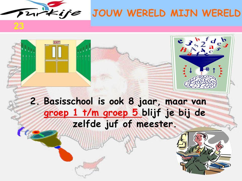 JOUW WERELD MIJN WERELD 2.Basisschool is ook 8 jaar, maar van groep 1 t/m groep 5 blijf je bij de zelfde juf of meester. 23