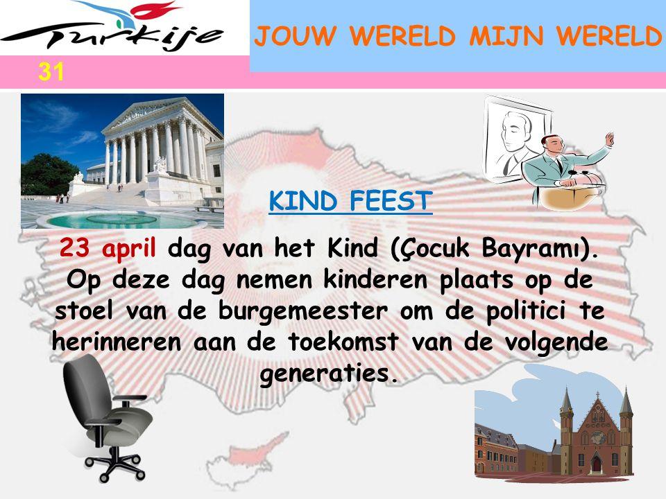 JOUW WERELD MIJN WERELD 23 april dag van het Kind (Çocuk Bayramı). Op deze dag nemen kinderen plaats op de stoel van de burgemeester om de politici te
