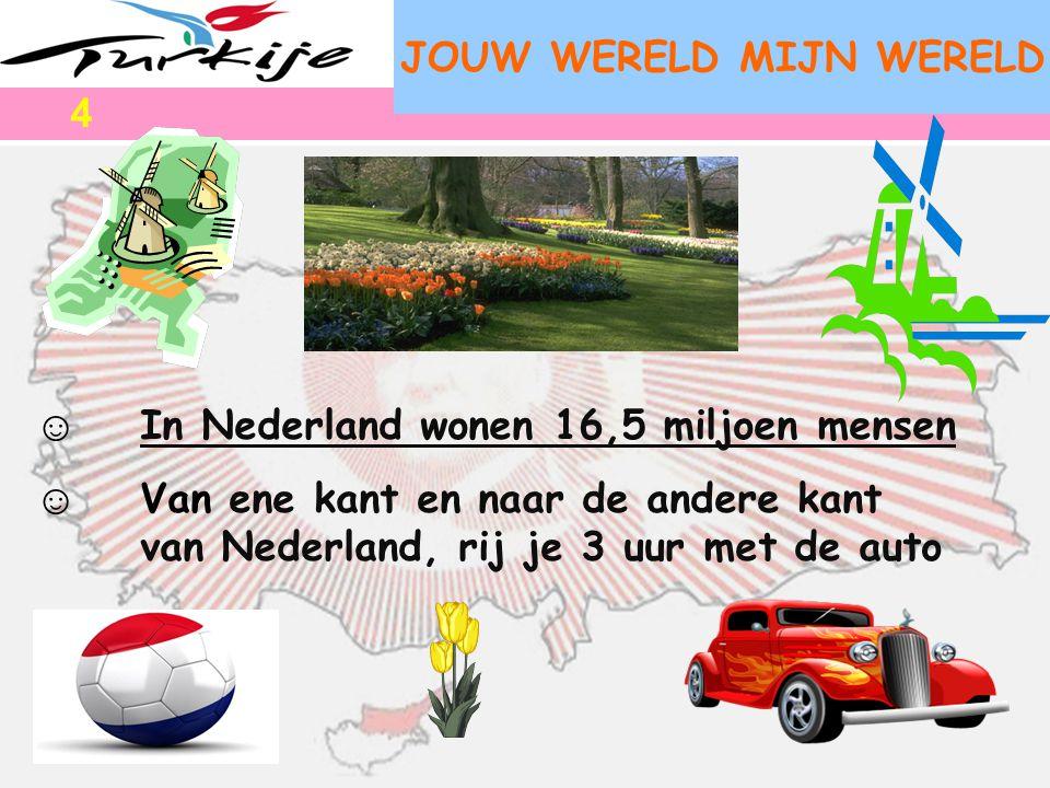 JOUW WERELD MIJN WERELD ☺ In Nederland wonen 16,5 miljoen mensen ☺ Van ene kant en naar de andere kant van Nederland, rij je 3 uur met de auto 4