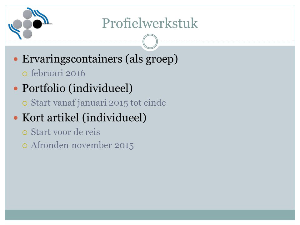 Profielwerkstuk Ervaringscontainers (als groep)  februari 2016 Portfolio (individueel)  Start vanaf januari 2015 tot einde Kort artikel (individueel