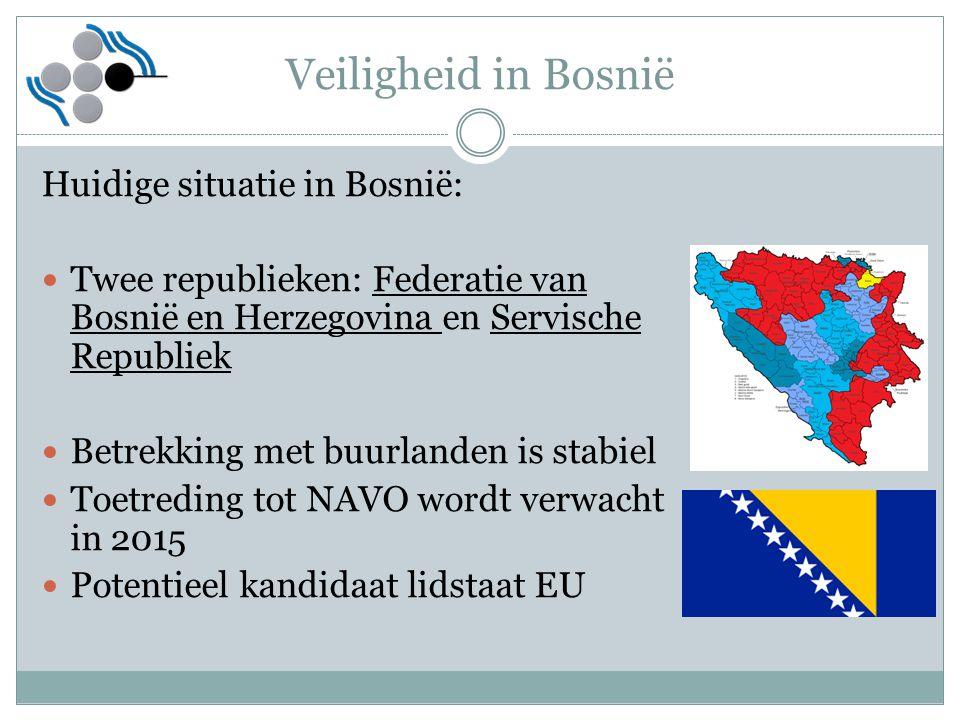 Veiligheid in Bosnië Huidige situatie in Bosnië: Twee republieken: Federatie van Bosnië en Herzegovina en Servische Republiek Betrekking met buurlande
