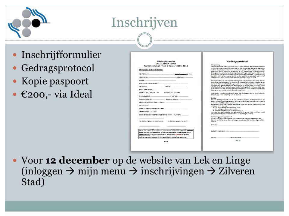 Inschrijven Inschrijfformulier Gedragsprotocol Kopie paspoort €200,- via Ideal Voor 12 december op de website van Lek en Linge (inloggen  mijn menu 